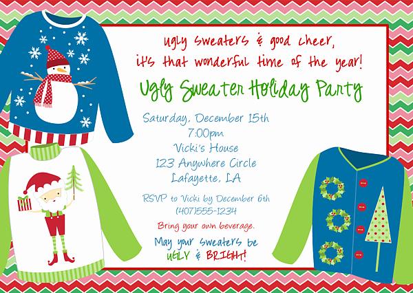 Tacky Christmas Sweater Party Invitation Wording Unique Ugly Christmas Sweater Party Invitations