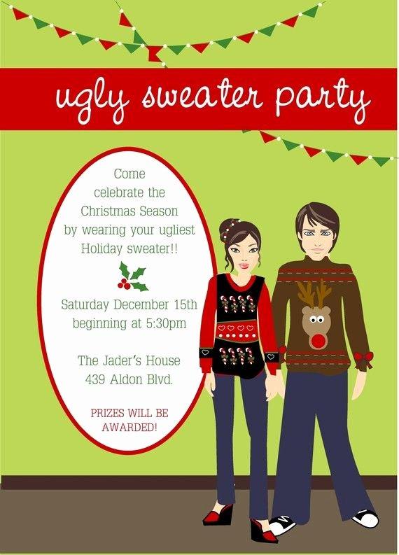 Tacky Christmas Sweater Party Invitation Wording Unique Ugly Sweater Christmas Party Invitation