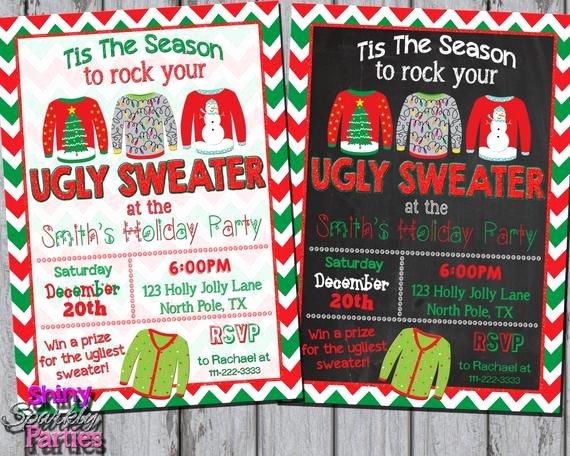Tacky Christmas Sweater Party Invitation Wording Unique Ugly Sweater Invitation Ugly Christmas Sweater Party Invite