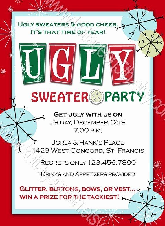Tacky Christmas Sweater Party Invitation Wording Unique Ugly Sweater Party Invitation Wording