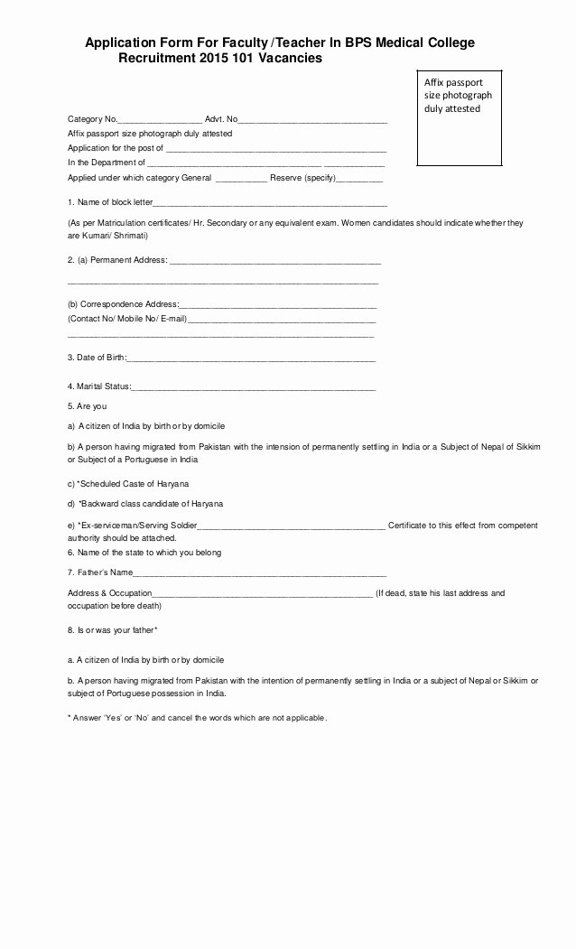 Teacher Application forms Fresh Application form for Faculty Teacher In Bps Medical