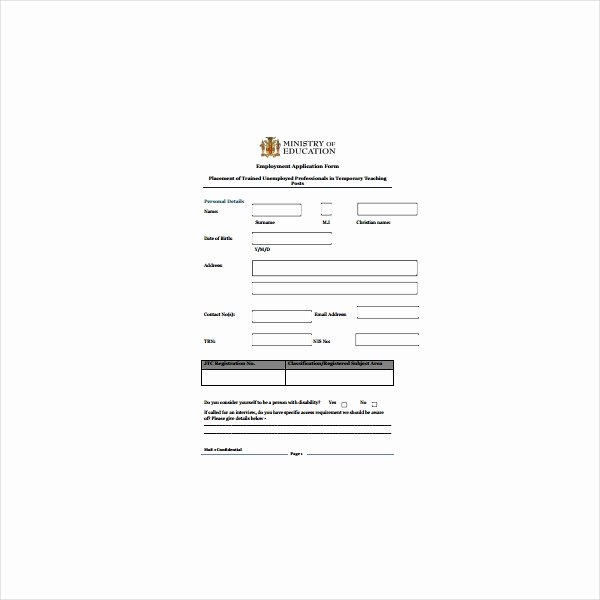 Teacher Application forms Inspirational 5 Teacher Application form Templates Pdf