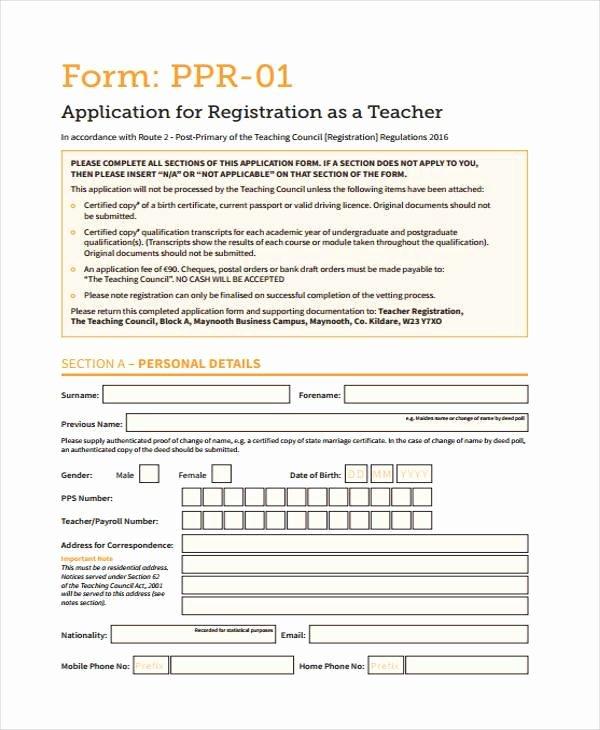 Teacher Application forms Inspirational 7 Teacher Registration form Samples Free Sample