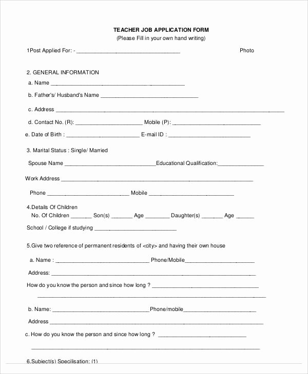 Teacher Application forms New 60 Application form Examples