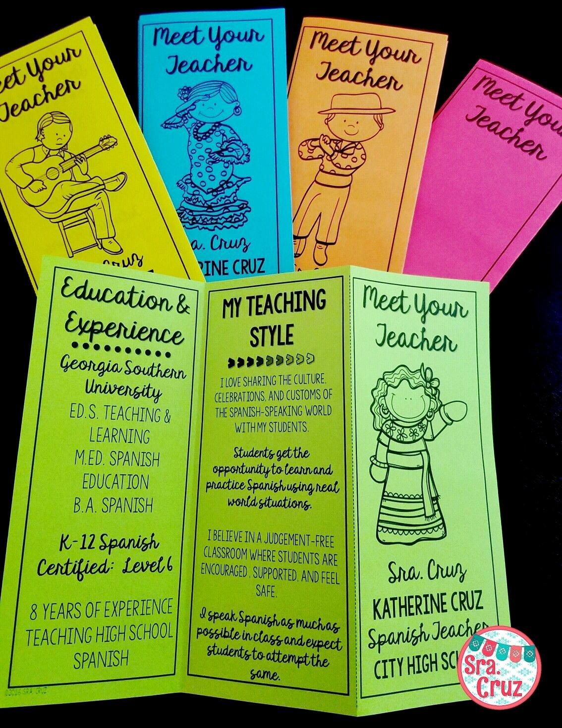 Teacher Brochure for Interview Template Awesome Meet the Teacher Brochure English Editable