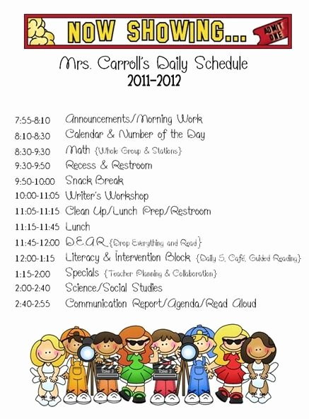 Teacher Daily Schedule Template Free Fresh First Grade Schedule On Pinterest