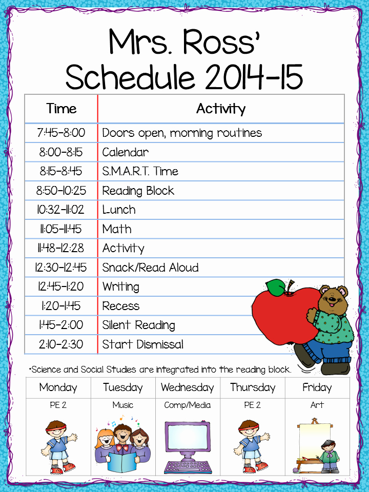 Teacher Daily Schedule Template Free Lovely Class Schedule Freebie