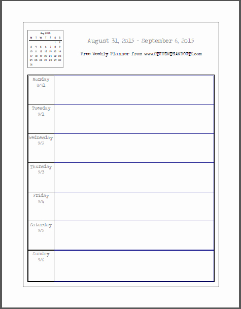 Teacher Daily Schedule Template Free Lovely Weekly School Planner 2015 2016 This Academic Calendar