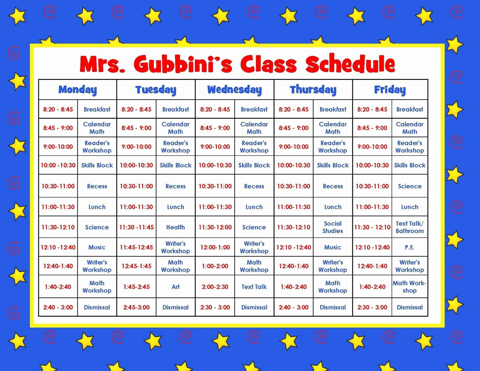 Teacher Daily Schedule Template Free New Aloha Kindergarten Daily Schedule Linky Party