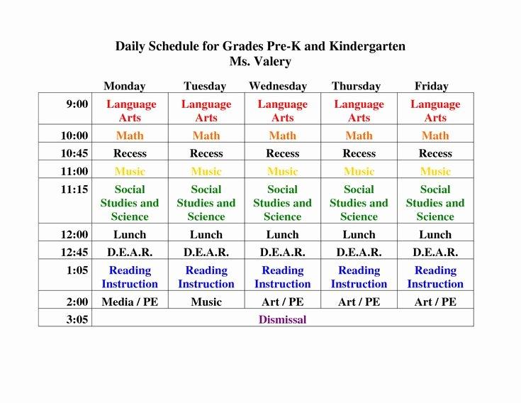 Teacher Daily Schedule Template Free Unique Pre K Daily Schedule Google Search