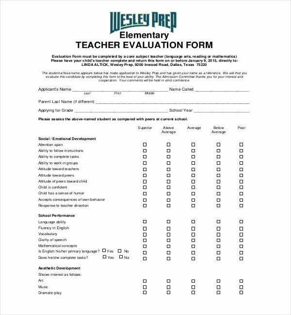 Teaching Feedback forms Best Of 18 Sample Teacher Evaluation forms
