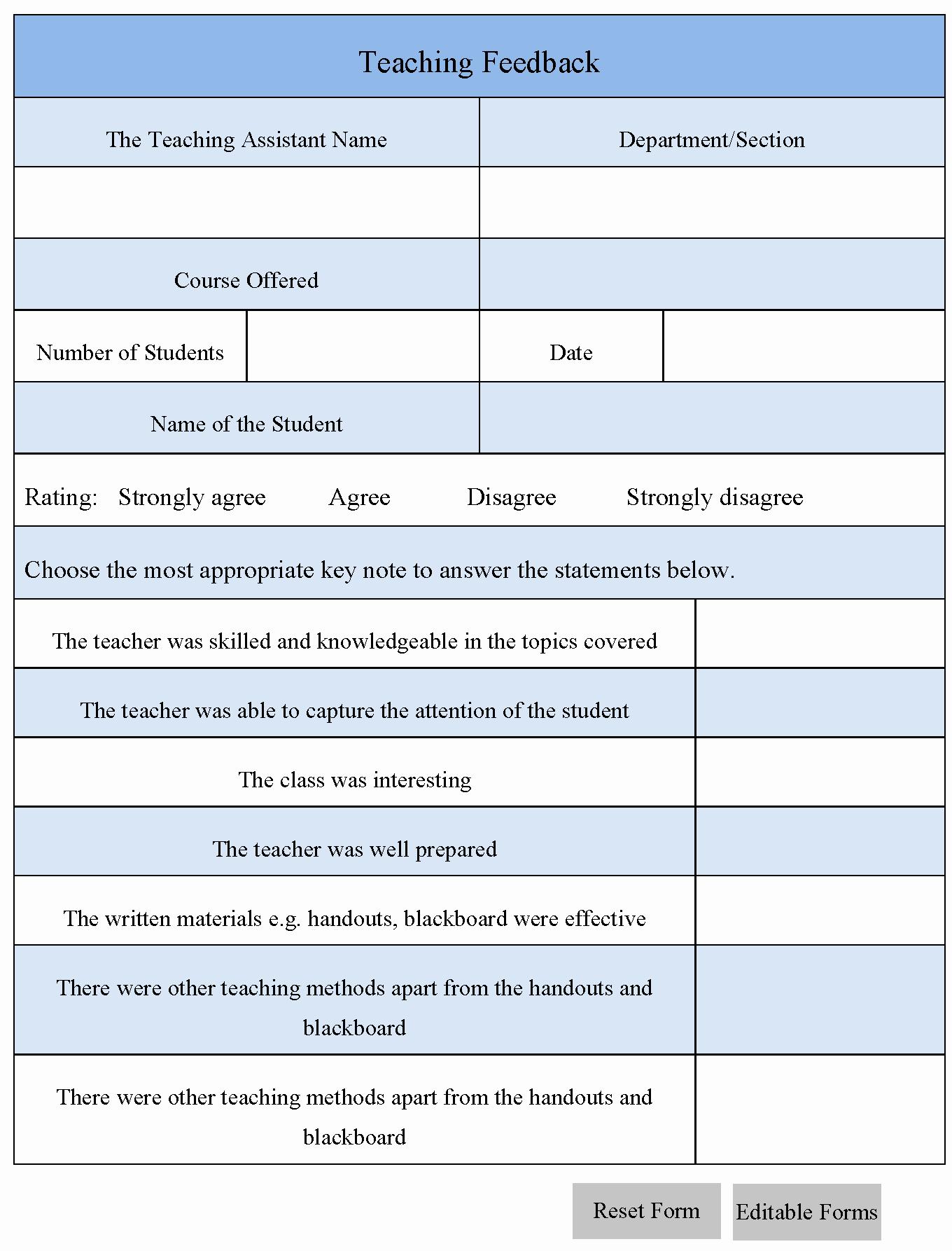 Teaching Feedback forms Best Of Teaching Feedback form