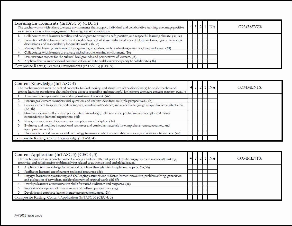 Teaching Feedback forms New Student Teacher Evaluation form