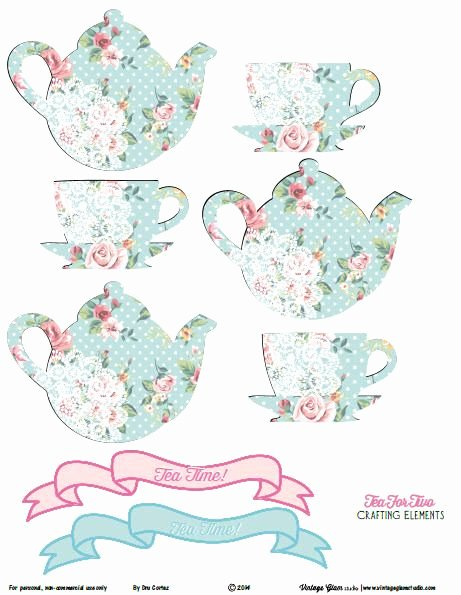 Teapot Templates Free Printable Luxury Shabby Chic Tea for Two Crafting Elements Free Printable