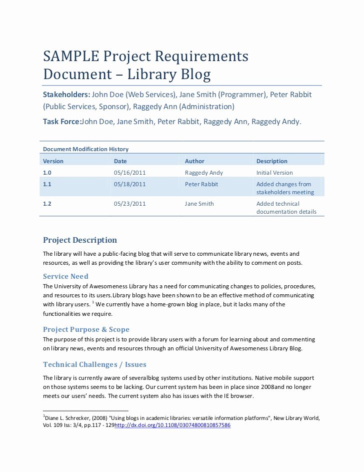 Technical Requirements Template Best Of Sample Project Requirements Document – Library Blog