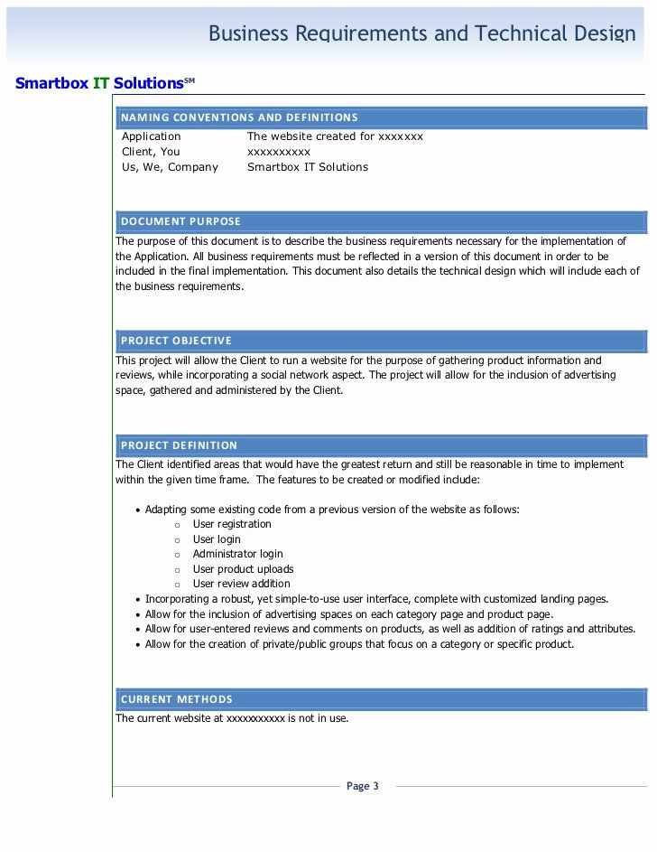 Technical Requirements Template Fresh Technical Requirements Document Template File Available