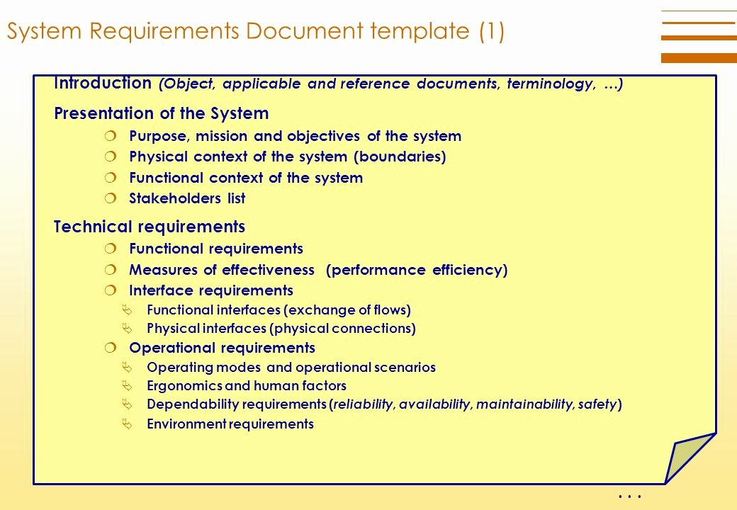 Technical Requirements Template Luxury Technical Requirements Definition Process Ppt