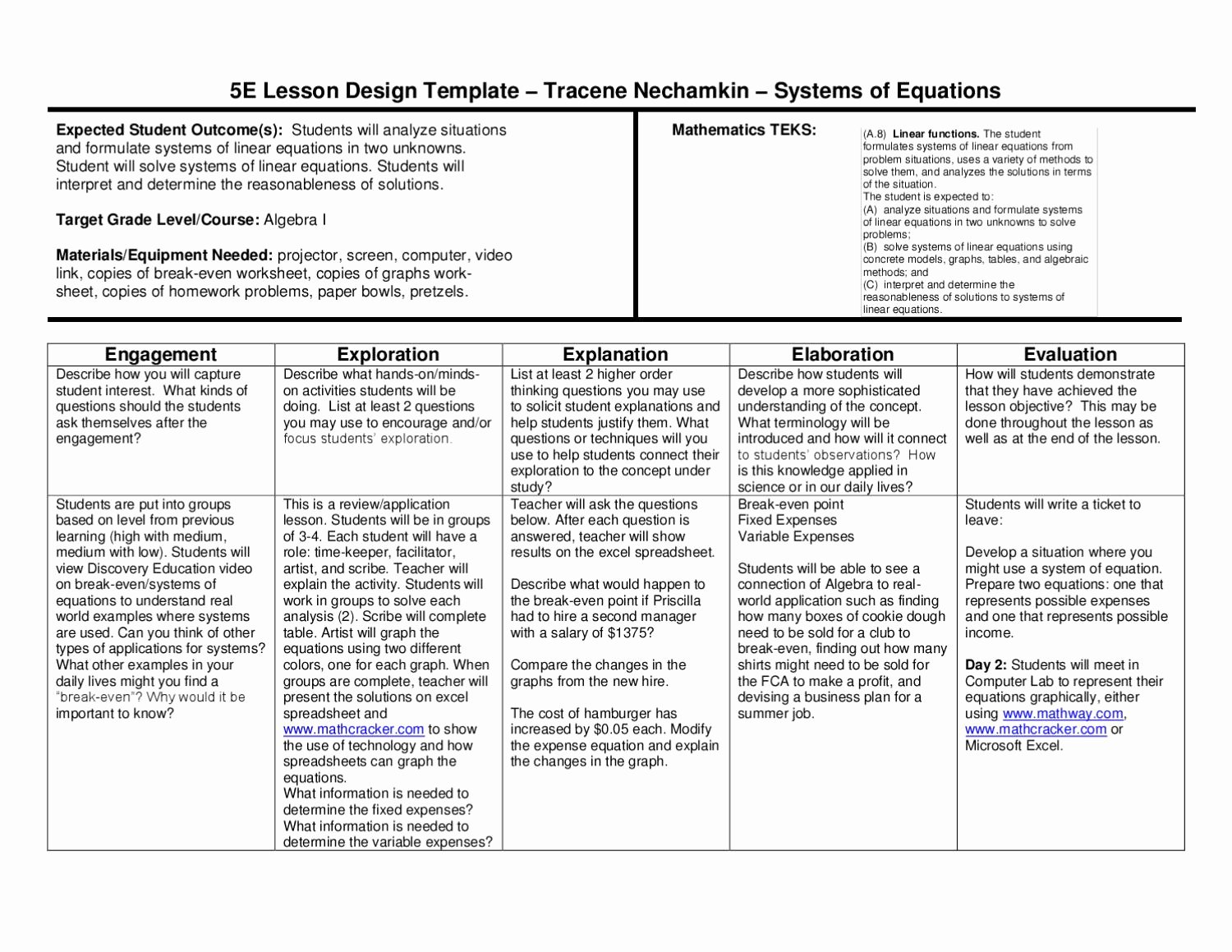 Teks Lesson Plan Template Beautiful 5e Lesson Plan Systems Of Equations by Wylie East High
