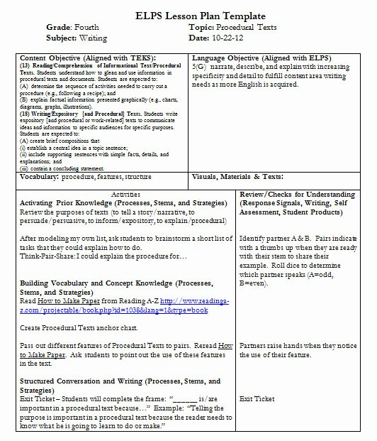 Teks Lesson Plan Template Fresh Teks Lesson Plan Template Idealstalist