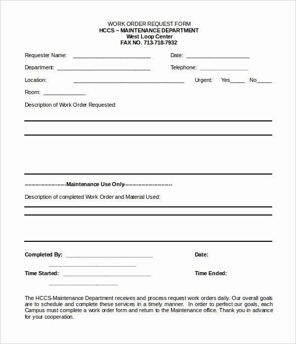 Tenant Maintenance Request form Template Lovely Work order Template 23 Free Word Excel Pdf Document