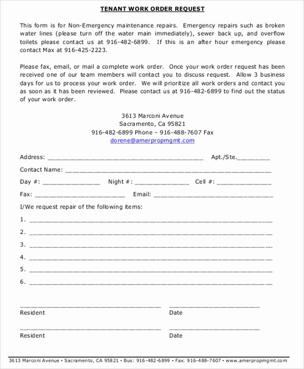 Tenant Maintenance Request form Template Luxury Free Sample Work order form 9 Examples In Word Pdf