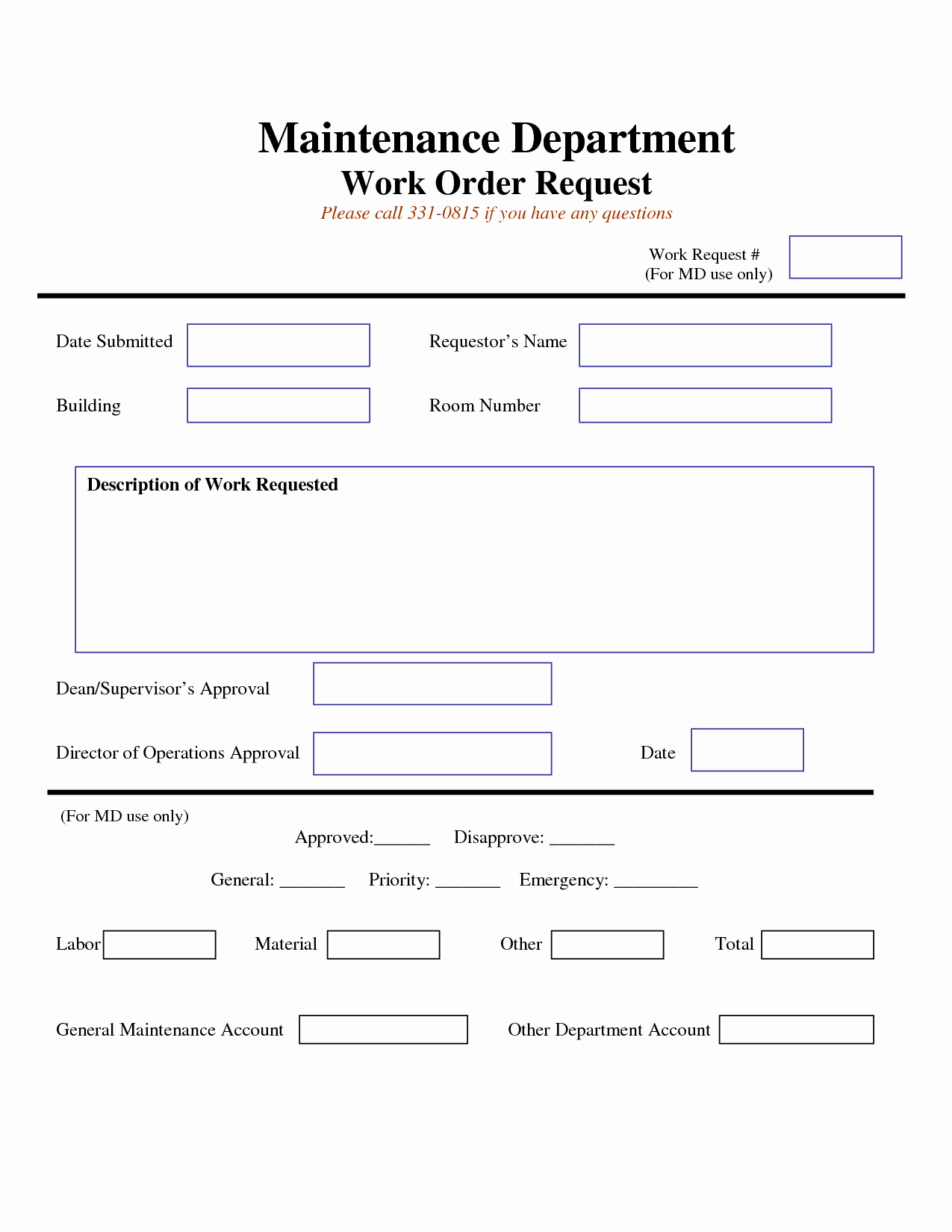 Tenant Maintenance Request form Template New Work Request form