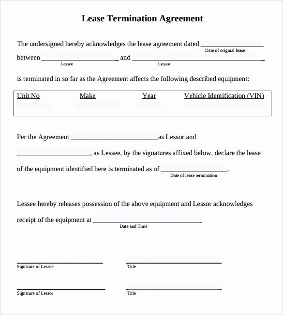 Termination Of Lease Agreement Template Awesome 11 Lease Termination Agreements