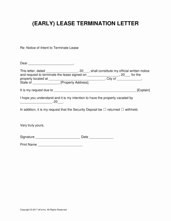 Termination Of Lease Agreement Template Awesome Early Termination Lease Agreement