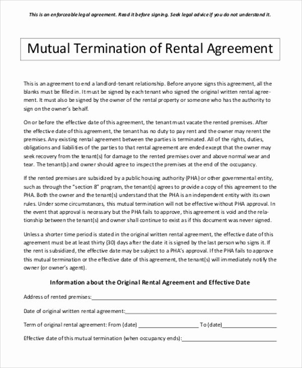 Termination Of Lease Agreement Template Awesome Sample Contract Termination Agreement 11 Examples In