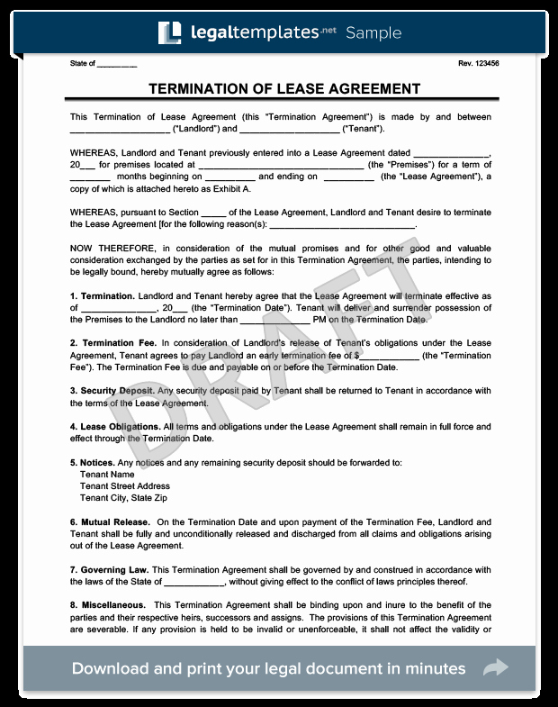 Termination Of Lease Agreement Template Beautiful Make A Free Lease Termination Letter In Minutes