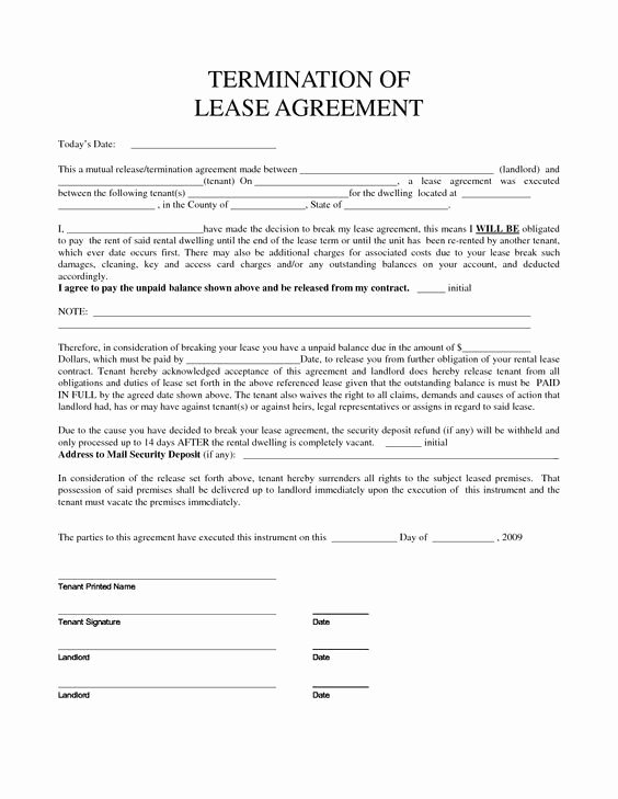 Termination Of Lease Agreement Template Elegant Personal Property Rental Agreement forms