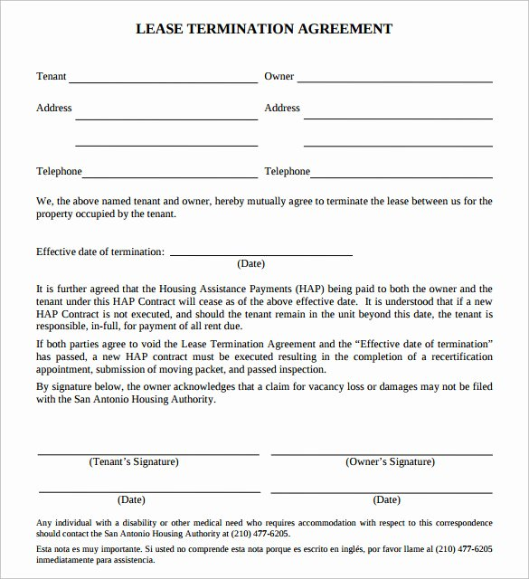 Termination Of Lease Agreement Template Luxury 11 Lease Termination Agreements