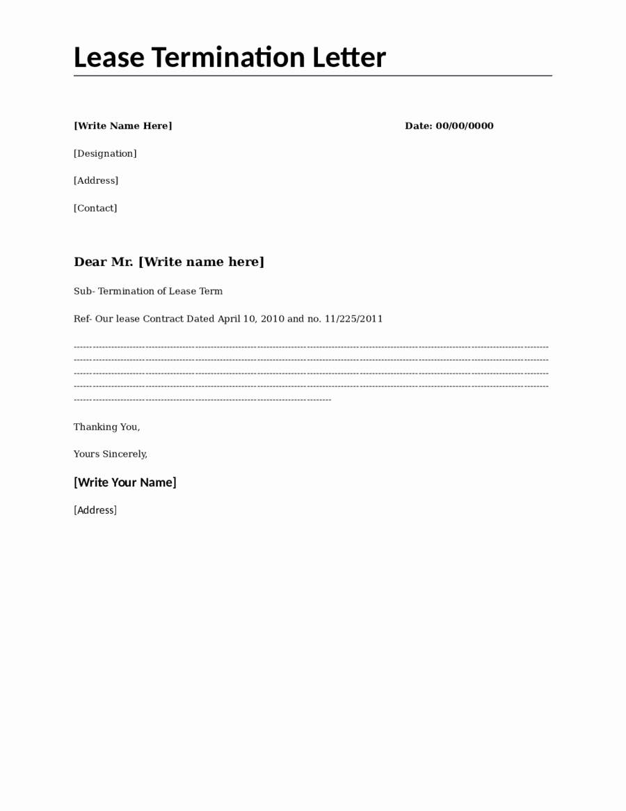 Termination Of Lease Agreement Template Luxury Lease Termination Letter Sample Lease Termination Letter