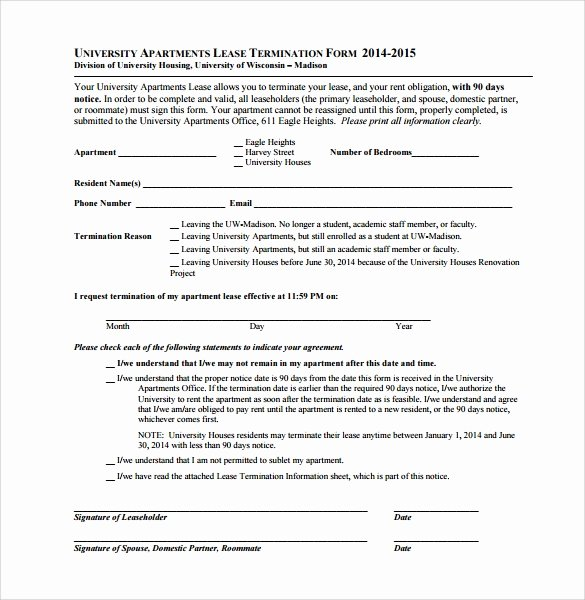 Termination Of Lease Agreement Template New 8 Lease Termination form Templates to Download