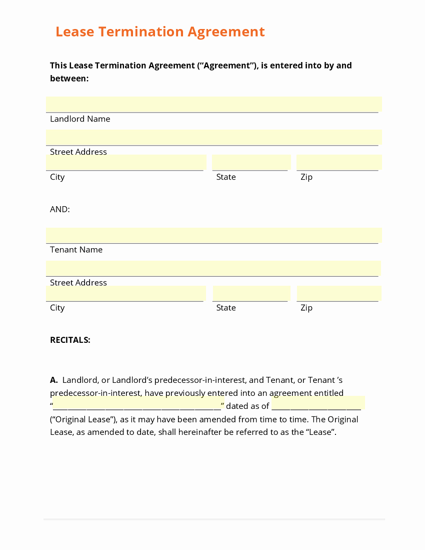 Termination Of Lease Agreement Template Unique Business form Template Gallery