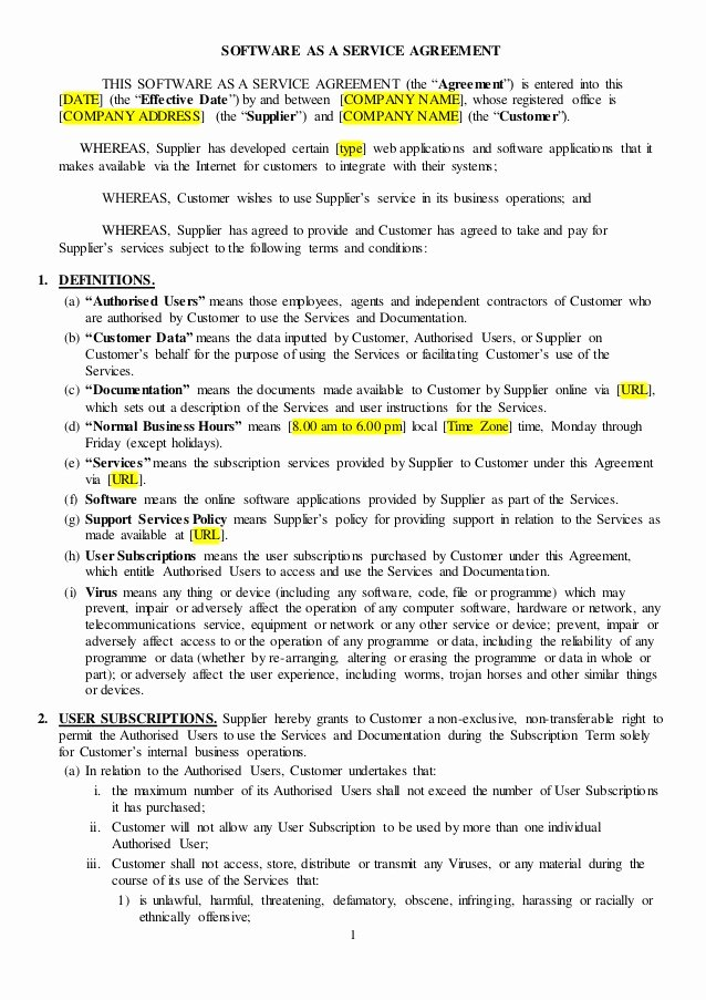 Terms Of Agreement Sample Best Of Saas Agreement Sample