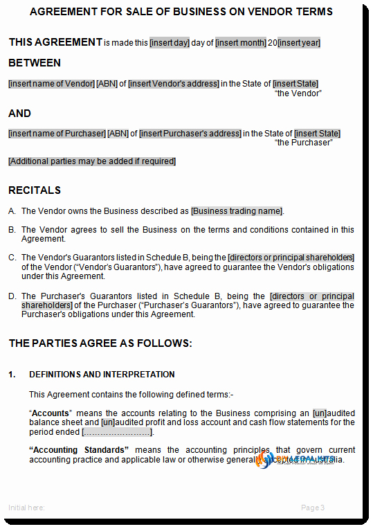 Terms Of Agreement Sample Best Of Sale Of Business On Vendors Terms Agreement Template