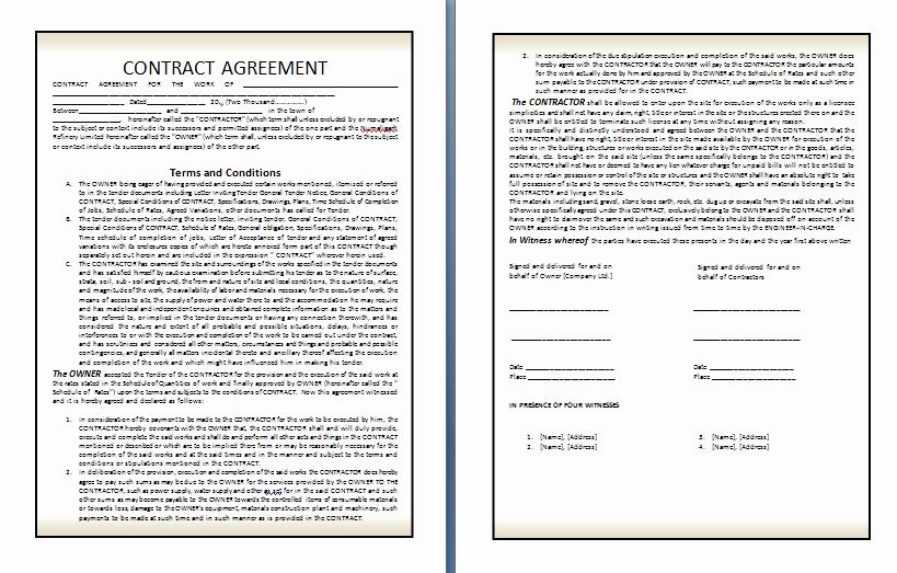 Terms Of Agreement Sample Lovely Qualified Contract Agreement Template Example In Two Page