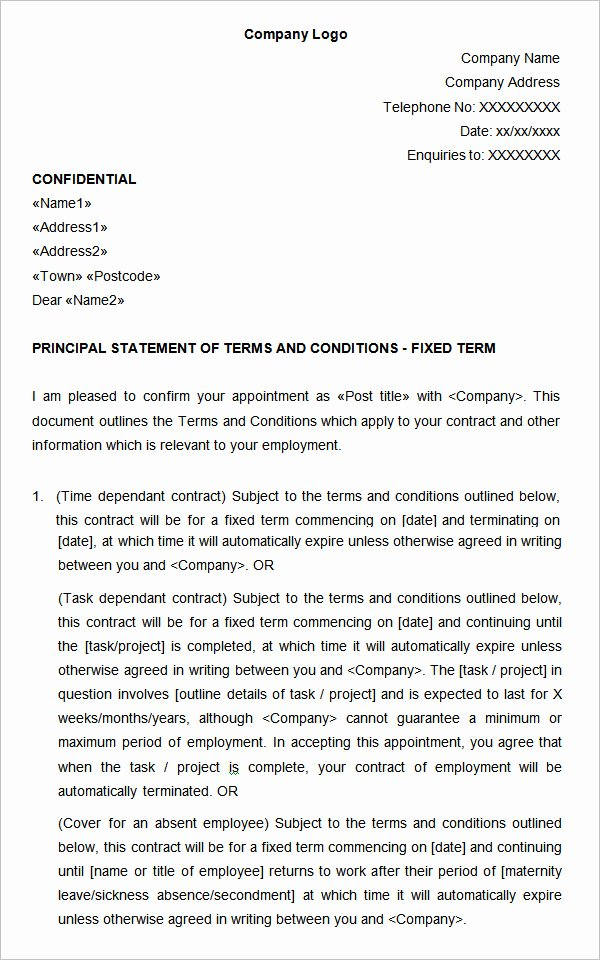 Terms Of Agreement Sample New 23 Hr Contract Templates Hr Templates