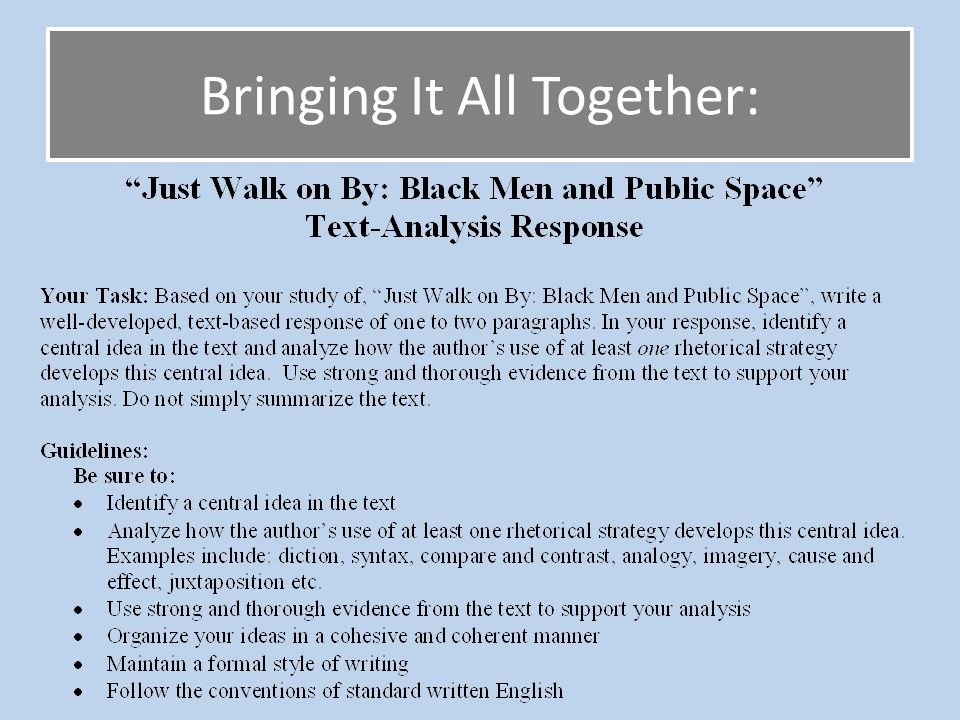 "Text Analysis Response Examples Beautiful Plete ""just Walk On by"" Text Analysis Response Ppt"