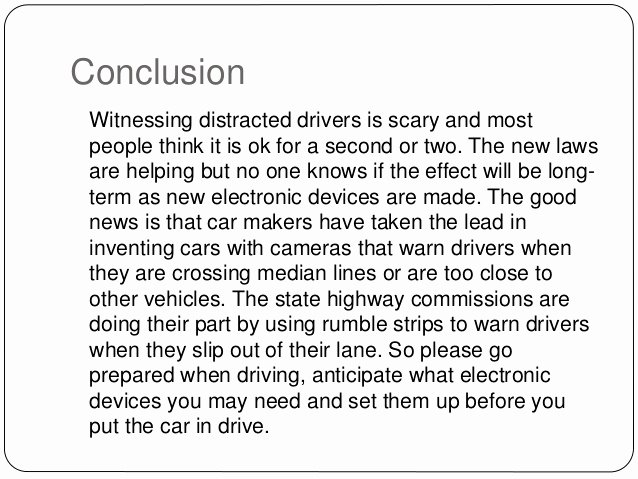 Texting and Driving Research Paper Fresh Distracted Driving Essay Conclusion Examples