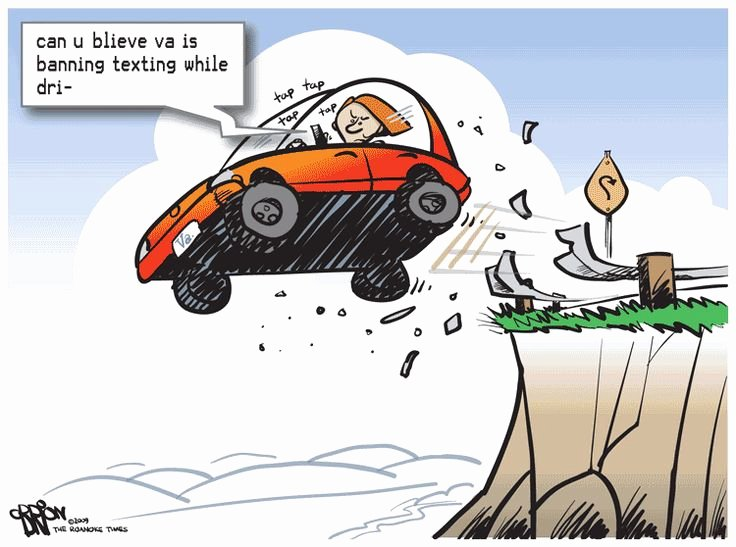 Texting and Driving Satire Best Of Cartoon Section