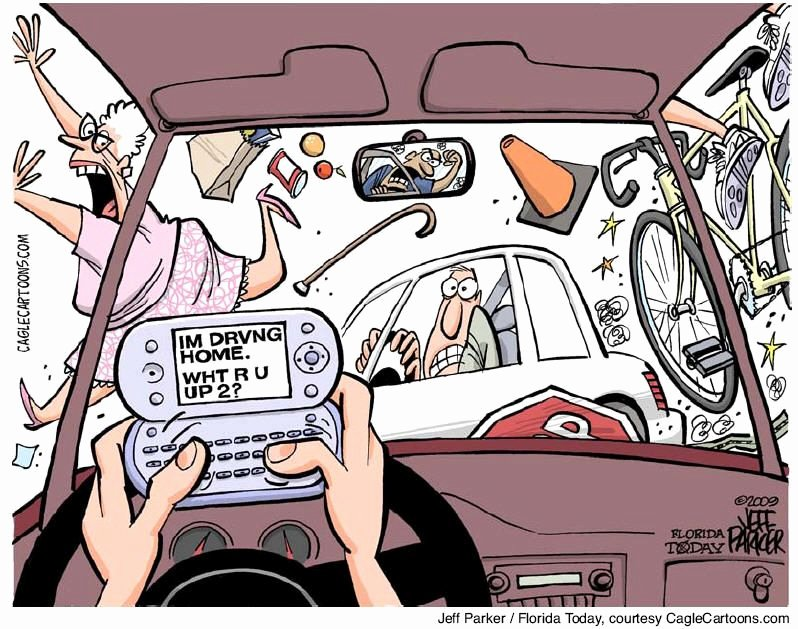 Texting and Driving Satire Elegant Funny Truck Driver Cartoons