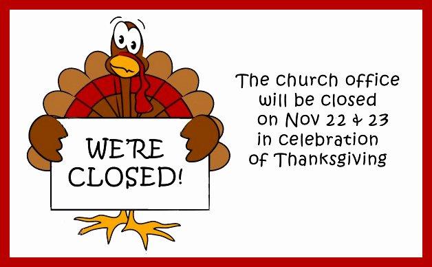Thanksgiving Closed Sign Template Beautiful Abc Parish 11 18 12 11 25 12