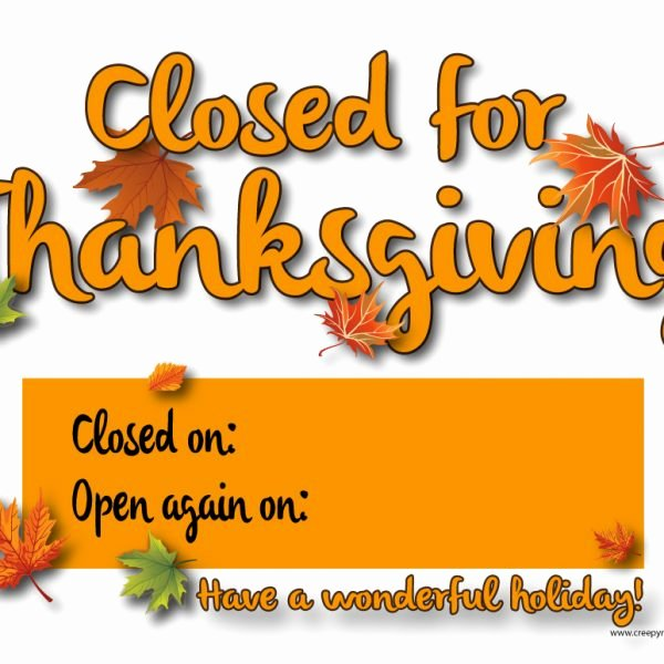 Thanksgiving Closed Sign Template Elegant Creepy Monkey Closed for Thanksgiving 01a