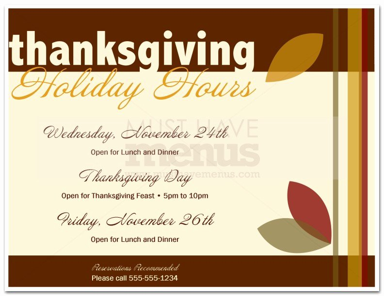 Thanksgiving Closed Sign Template Luxury Thanksgiving Holiday Hours Flyer
