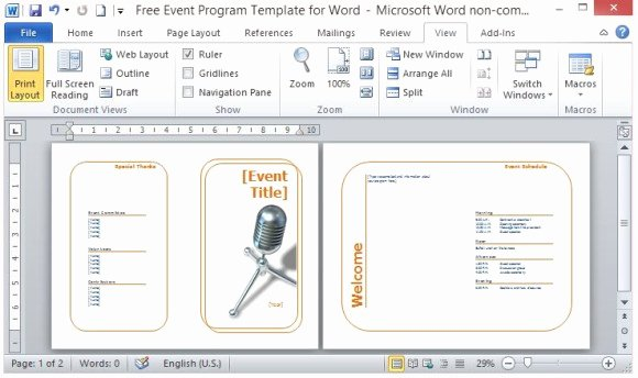 Theatre Program Template Beautiful Free event Program Template for Word