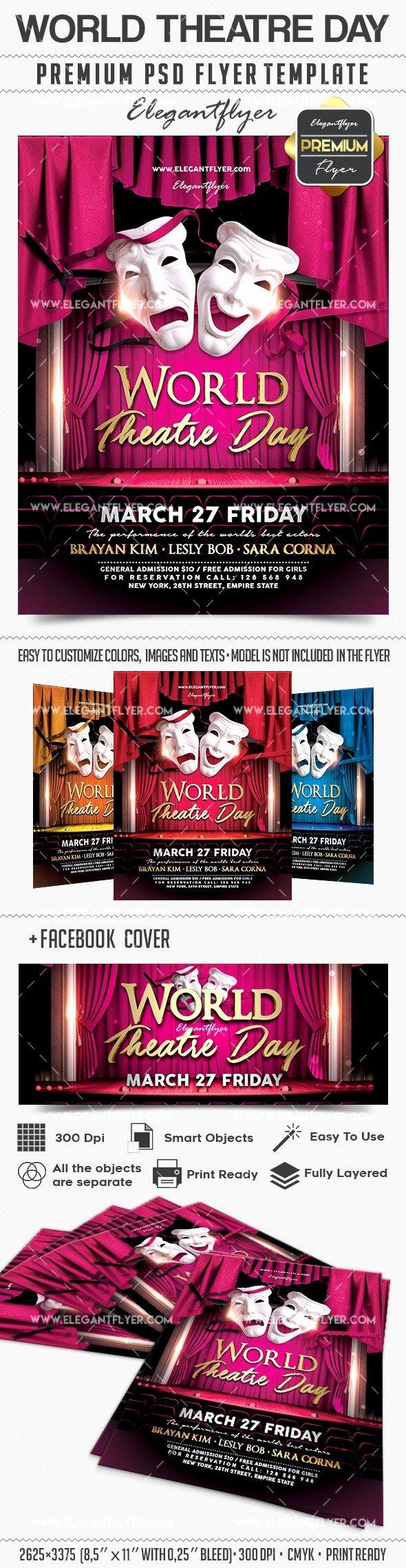 Theatre Program Template Best Of World theatre Day – Flyer Psd Template – by Elegantflyer