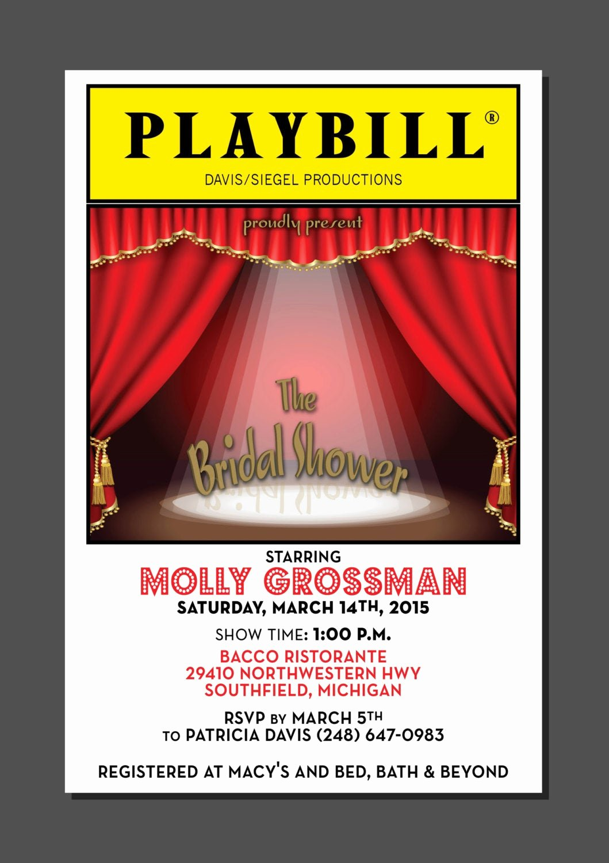 Theatre Program Template Inspirational Playbill theater Wedding Bridal Shower Broadway New York