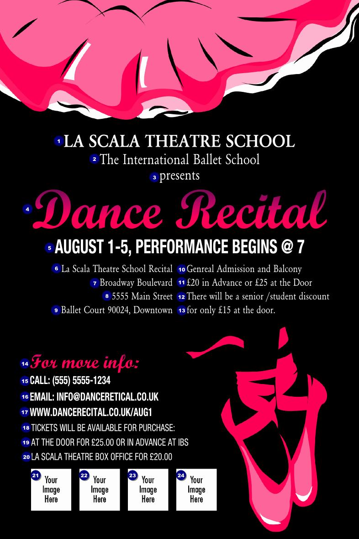 Theatre Program Template New Dance Recital Poster Ticket Printing